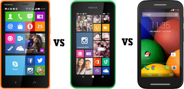Nokia X2 vs Lumia 530 vs Moto E